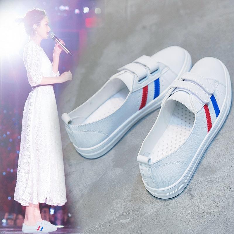 2018夏季新款浅口平底小白女鞋透气韩版学生百搭春季镂空白鞋单鞋