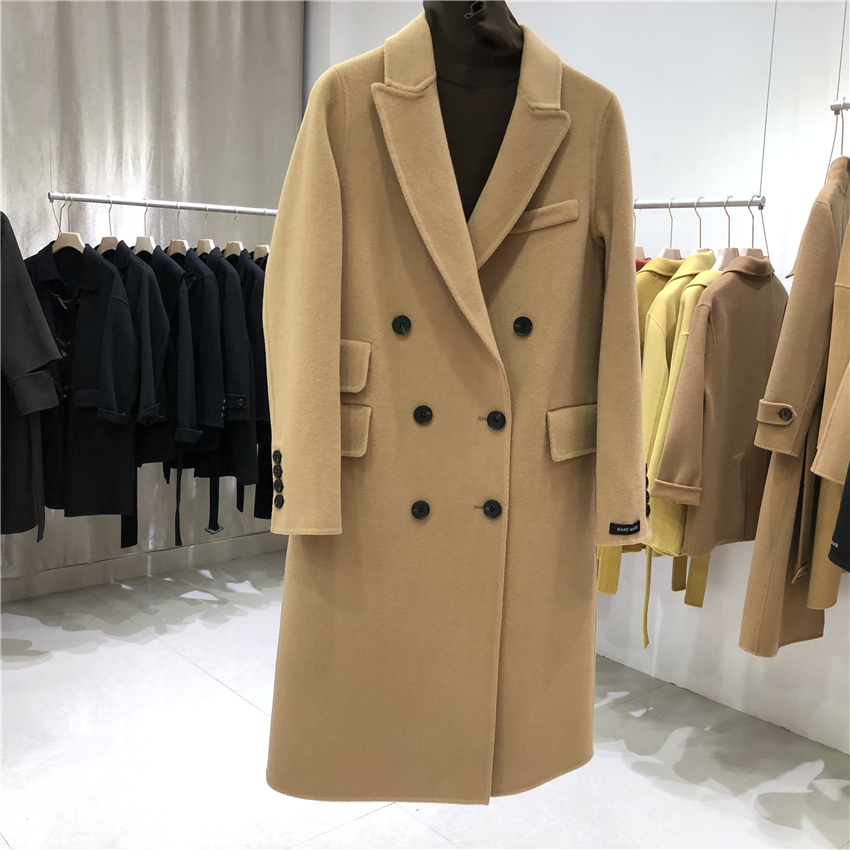 Autumn and winter fashion classic double row button medium and long coat suit collar pocket double-sided wool loose and thin coat