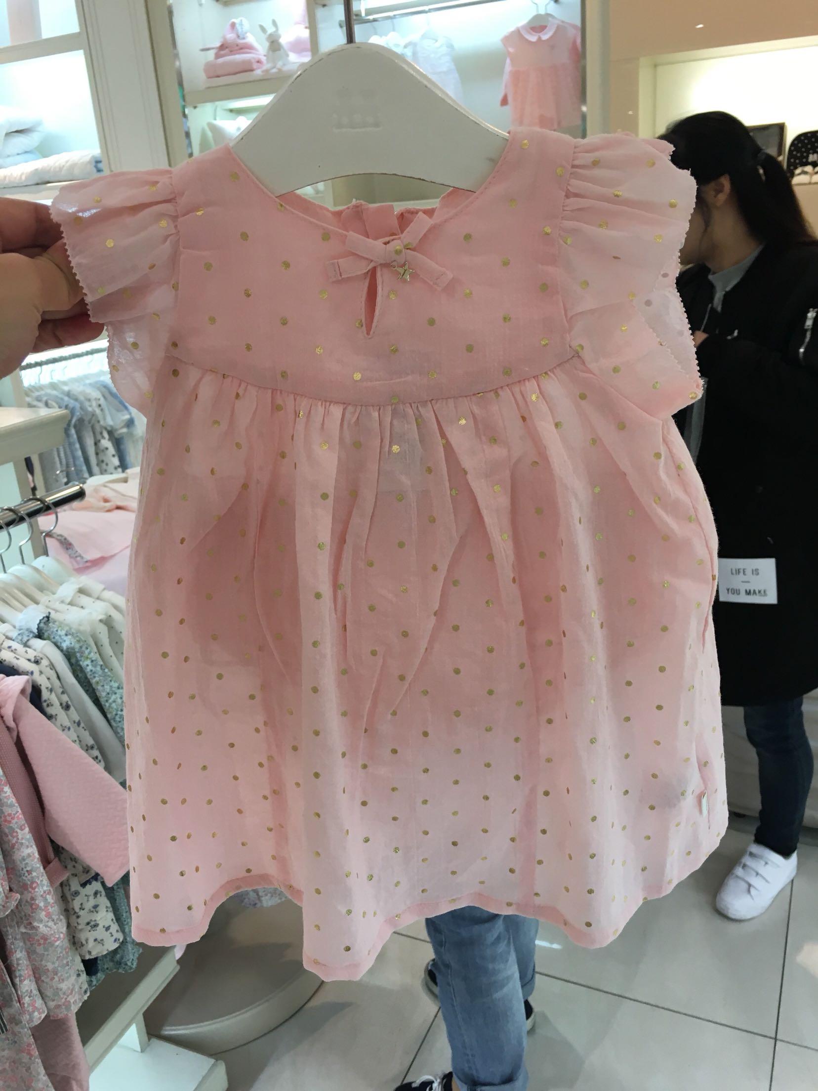 韩国中小童装 2020夏季新品女童宝宝粉色烫金纯棉连衣裙 公主裙子