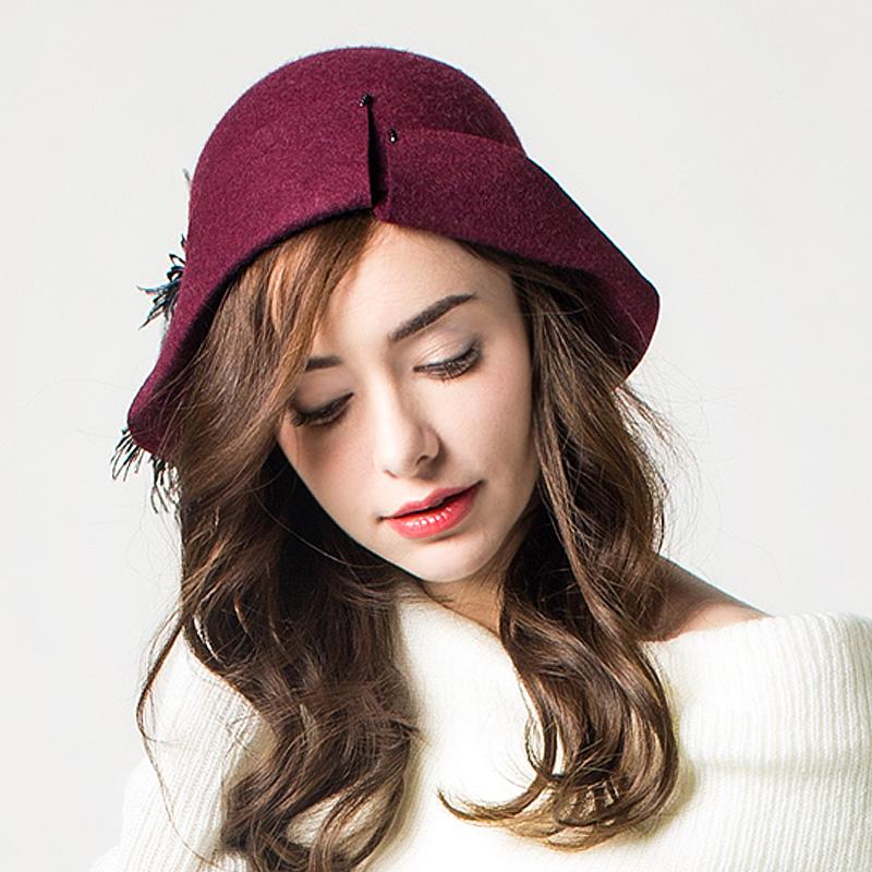 库茵 柔软羊毛呢帽小礼帽女士秋冬季帽子英伦时尚盆帽青年百搭
