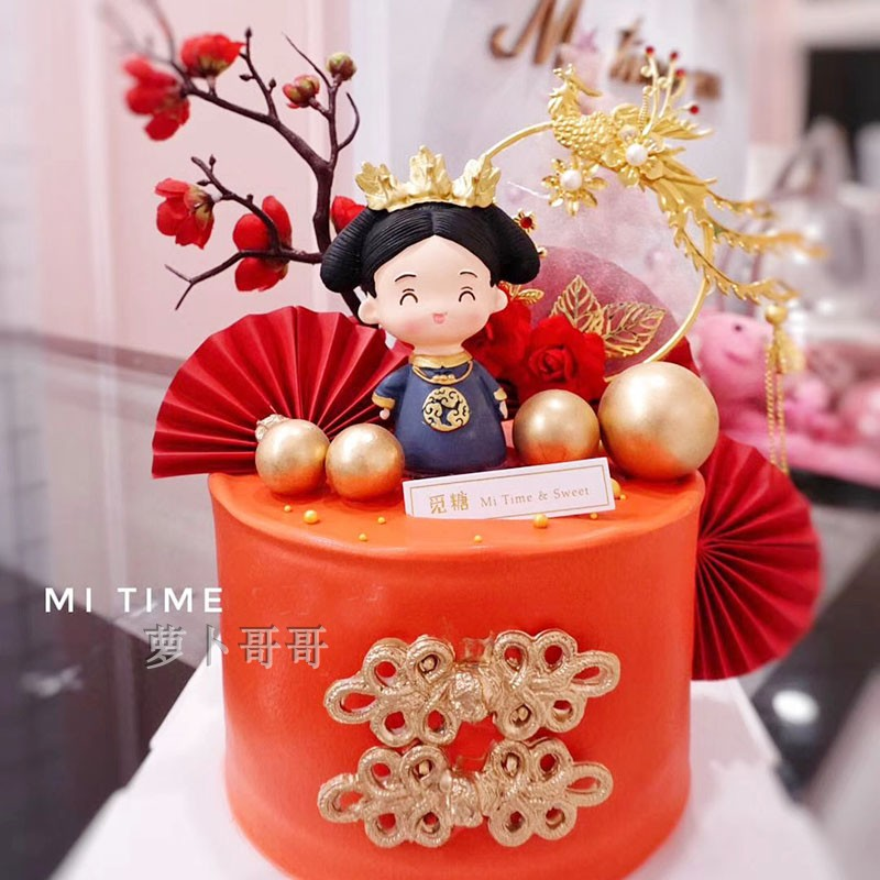 Chinese style baking cake decoration decoration wedding Phoenix Yufei iron plug-in retro garland desserts