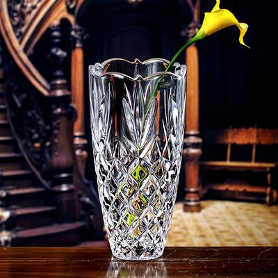 进口透明水晶玻璃花瓶摆件客厅插花富贵竹北欧水养复古干花花瓶