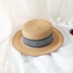 夏天平顶小礼帽复古风女士太阳帽遮阳防晒沙滩度假英伦爵士草帽子