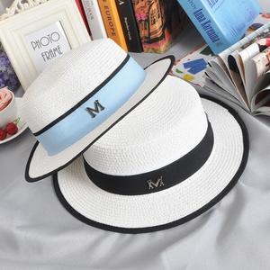 英伦白色女士包边平顶草帽M标小礼帽遮阳帽平顶帽子夏季平沿逛街