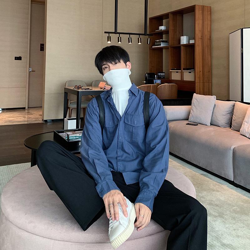 Hualun纯棉衬衫男长袖韩版潮流帅气潮牌保暖工装休闲内搭打底衬衣