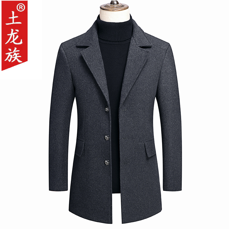 Spring and autumn new medium and long wool coat coat mens casual middle-aged mens jacket coat mens fathers suit
