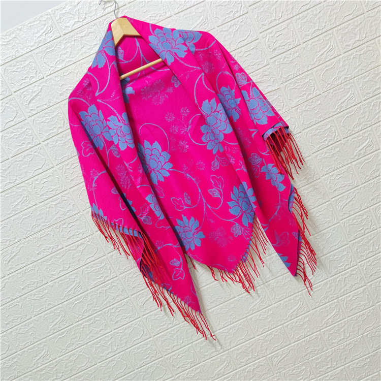 Xinjiang scarf dual purpose thickened female spring and autumn winter generous scarf ethnic style imitation cashmere tassel air conditioning shawl