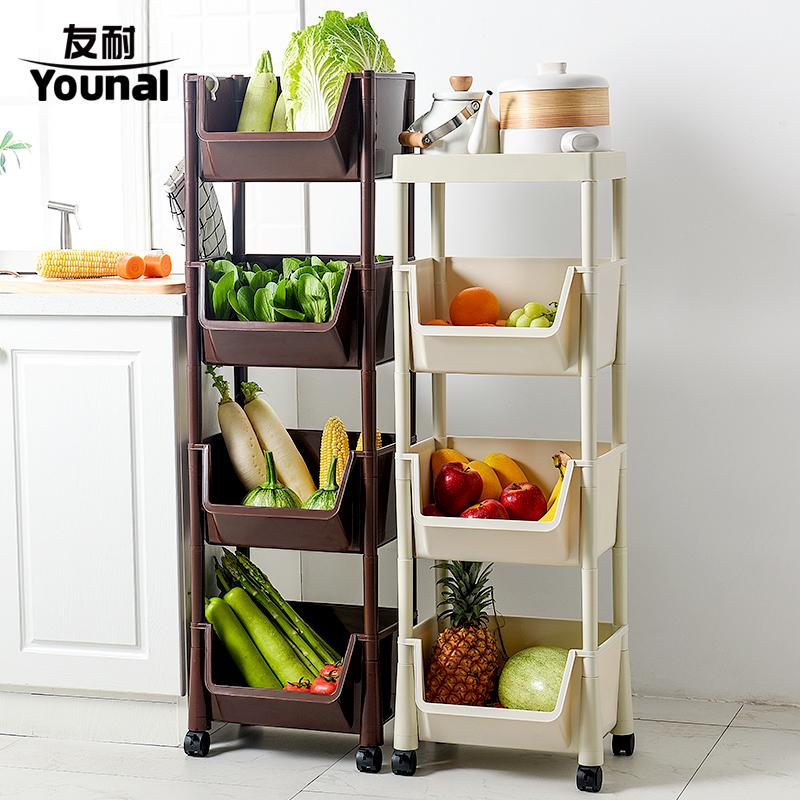 厨房蔬菜置物架落地多层收纳架塑料果蔬收纳筐家用蔬菜篮子带滑轮
