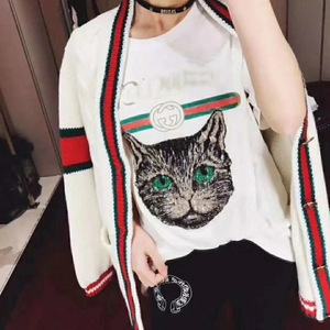 2018早春新款百搭韩版酷G家同款亮片猫头字母印花宽松短袖棉t恤女