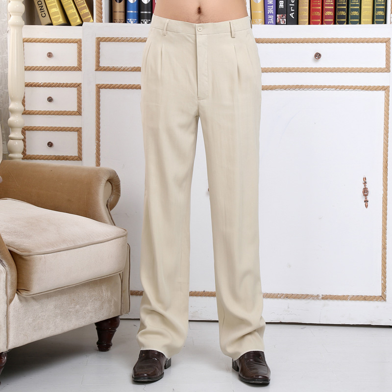 Silk mens pants silkworm silk spring and summer pants mens casual pants thin straight tube loose trousers for middle-aged and old people