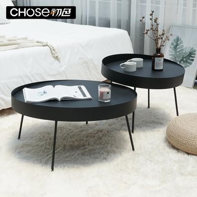 北欧丹麦圆形茶几简约铁艺工业风客厅创意家具黑色沙发茶桌小圆桌