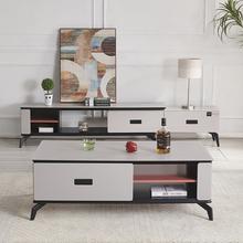 简约北欧茶几电视柜组合 玻钢石小户型钢化玻璃烤漆储物灰色 特价