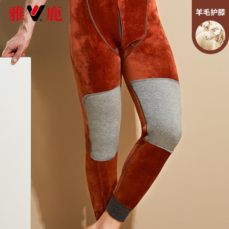 雅鹿男士保暖裤加绒加厚棉裤冬季宽松羊毛护膝中老年秋裤打底绒裤