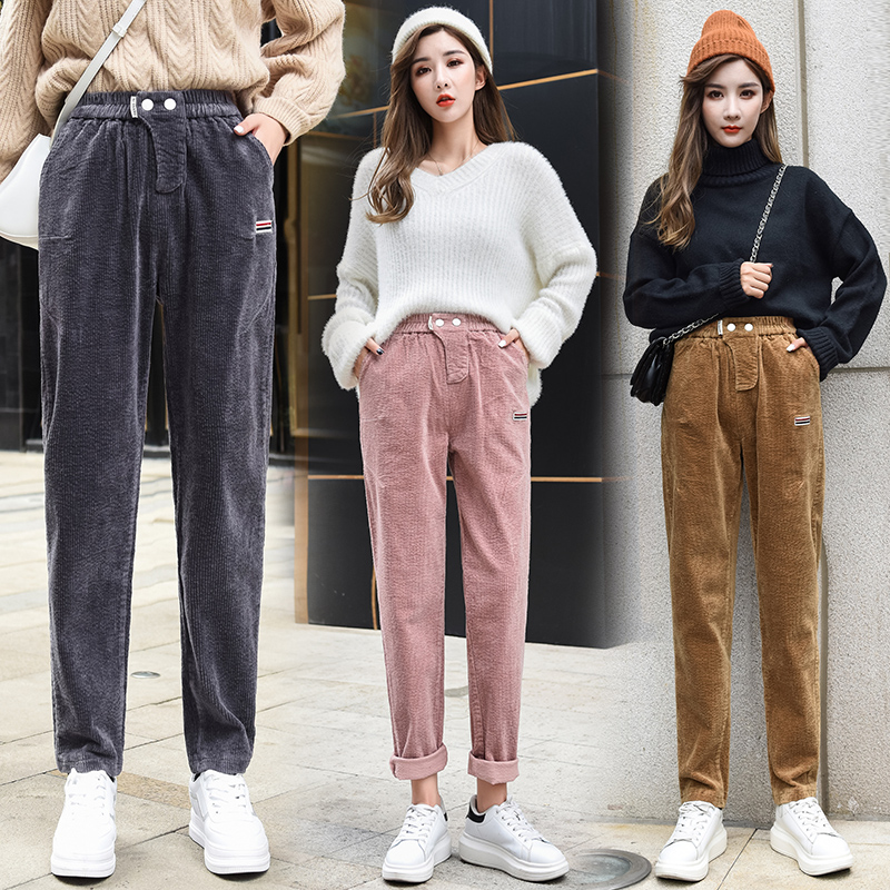 Womens wear with half length mesh cake dress denim bell bottoms top autumn winter casual pants corduroy Harun