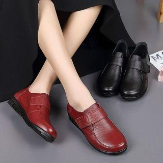 新品2020秋款奥伦秋冬新款真皮女鞋中老年妈妈鞋平底深口大码女式