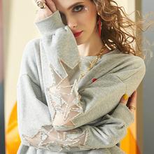 个性 镂空网纱拼接钉珠长袖 圆领上衣C 欧美宽松卫衣女2019秋季 新款