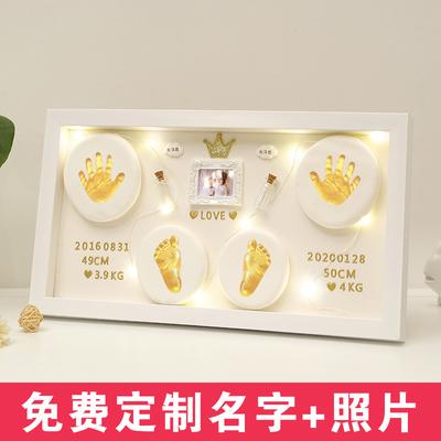 Baby hand and foot print mud commemorative photo frame newborn lanugo souvenir hundred days gift baby full moon footprint handprint