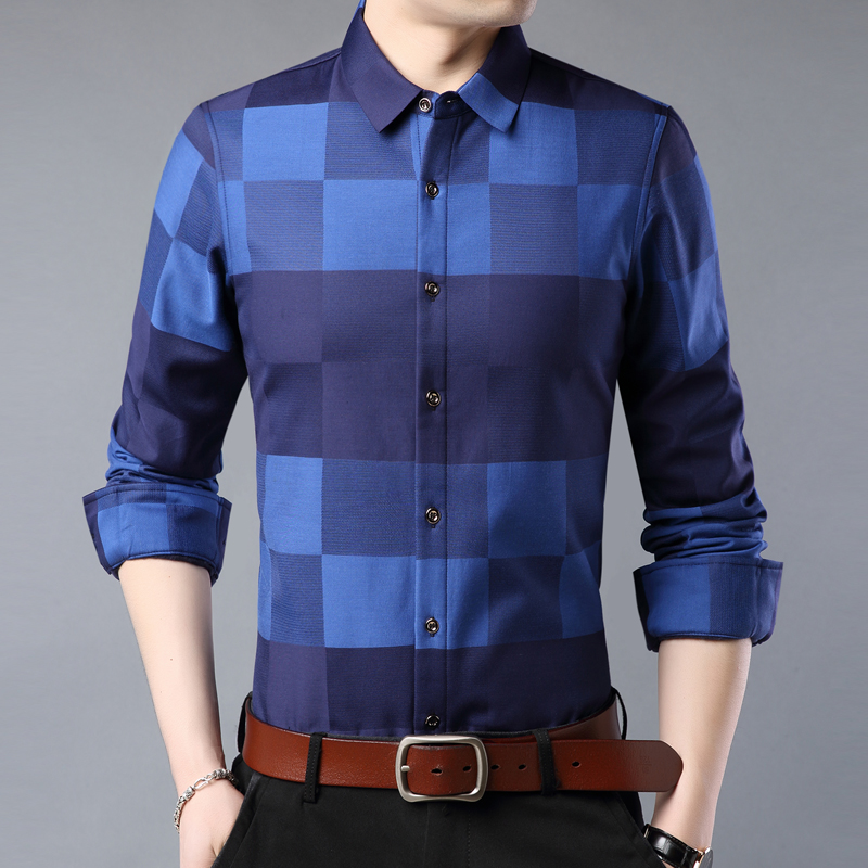 New fashion winter wear Plush warm Plaid Shirt middle aged men business casual Korean no iron shirt
