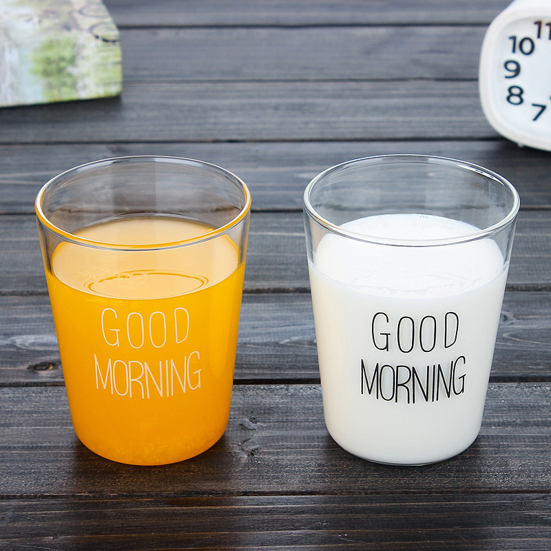 Japanese milk cup breakfast cup creative glass cup good morning coffee cup beverage juice cup