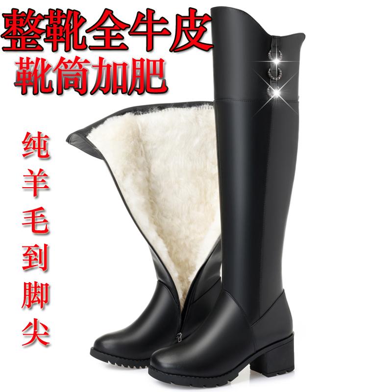 ネットの赤いトンボは冬季ひざの長靴の大きいサイズのお母さんの皮靴の本革のウールの長靴の雪の靴の女性を過ぎます。