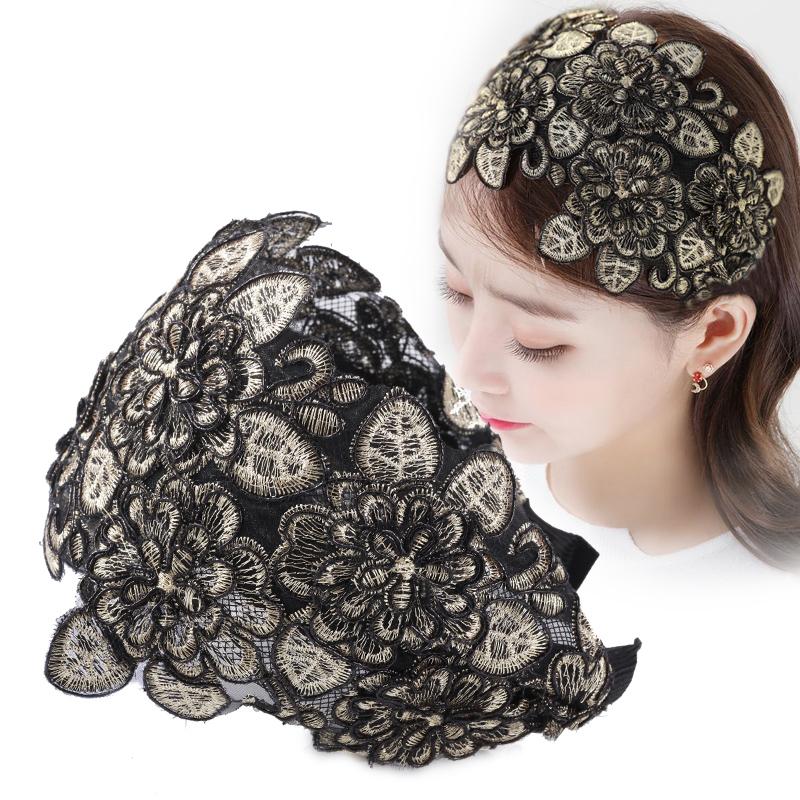 韩国遮白发宽边显脸小水晶蕾丝发箍