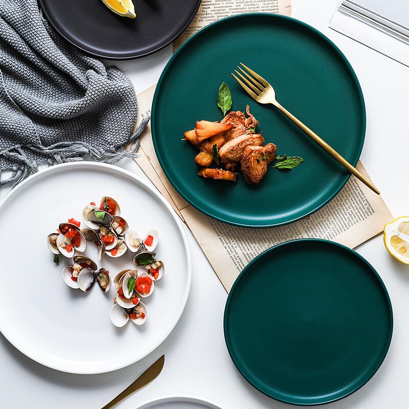 北欧创意陶瓷牛排盘子网红轻奢餐具ins西餐盘菜盘家用托盘早餐盘
