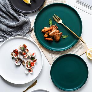 北欧创意陶瓷牛排盘子网红轻奢托盘