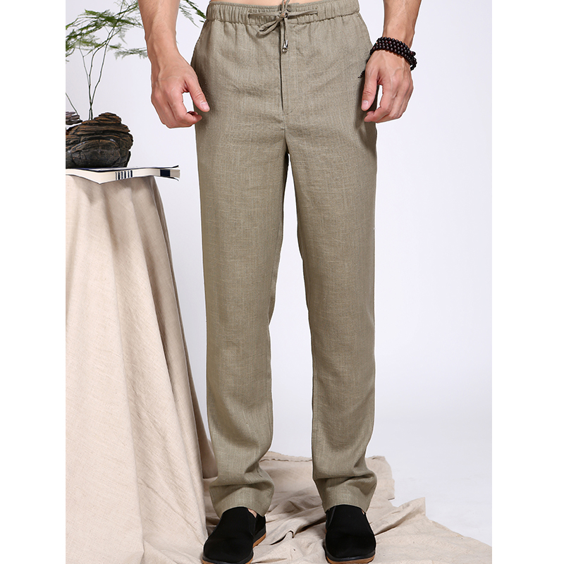 Summer mens cotton and hemp trousers, slim fit and versatile pants, washed in water, mens middle-aged thin style, solid color, mid waist, army green
