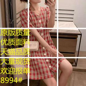 复古格子连衣裙仙女超仙甜美减龄v领单排扣很仙的法国小众桔梗裙