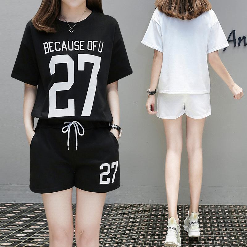 Жир mm случайный движение костюм женщина бег новый летний студент корейский свободный шорты два рукава волна