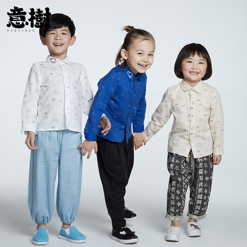 Italian tree childrens long sleeve shirt baby boys and girls Chinese style coat childrens Cotton hemp Xiangyun printed Chinese style top