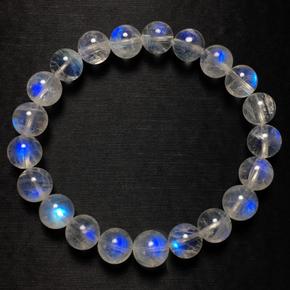 玻璃体蓝月光石手链冰种月光强蓝光彩虹光一物一图水晶手串礼物女