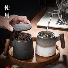 Shanhaixing filter tea cup with cover office tea cup mug customized household ceramic tea cup water cup