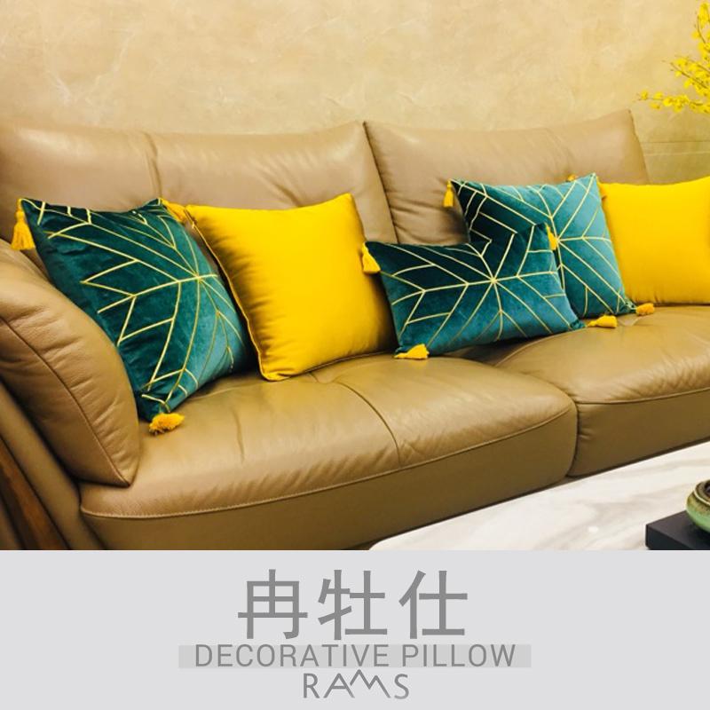 简约现代几何绿蓝色丝绒床头靠背腰靠垫欧式轻奢样板房沙发抱枕套