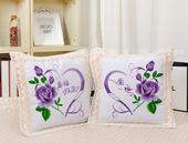 紫玫瑰幸福约定一生一世婚庆 包邮 十字绣抱枕印花新款 卡通情侣一对