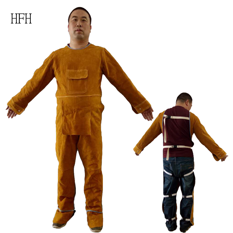 Cowhide welding protective clothing, welder welding heat insulation and scalding protective clothing, radiation proof work clothes, welder special clothing
