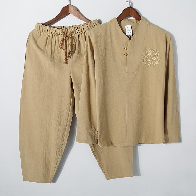 唐装男棉麻中青年套装中式汉服亚麻春秋长袖禅服茶居士茶服上衣热销12件不包邮