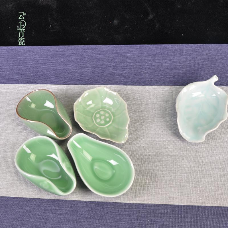 Yunshang Tea Lotus celadon tea set accessories teaspoon wake tea ceramic tea white porcelain tea lotus tea shovel bamboo tea spoon