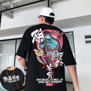 国潮夏季潮流中国风短袖文字丅t恤