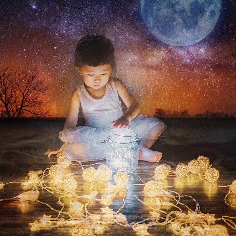 泰国藤球小装饰灯串彩灯闪灯串灯变色七彩色星星灯卧室满天星梦幻