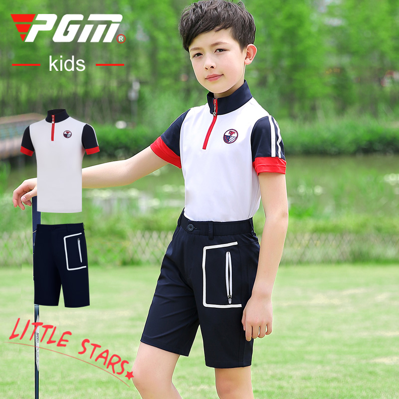 Promotion PGM golf clothing children golf clothing boys short sleeve T-shirt + shorts summer sports set