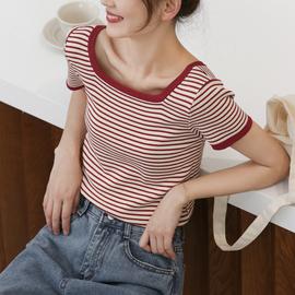 草莓圣代/条纹t恤女冰丝针织衫百搭打底衫方领短袖内搭短款bm上衣