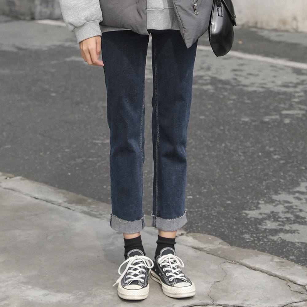 复刻回忆显高牛仔裤女显瘦高腰加绒直筒裤宽松长裤秋冬糯米不开花