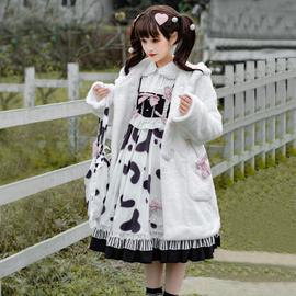 原创秋冬Lolita奶牛布丁OP甜美可爱新年洛丽塔长袖毛绒外套连衣裙