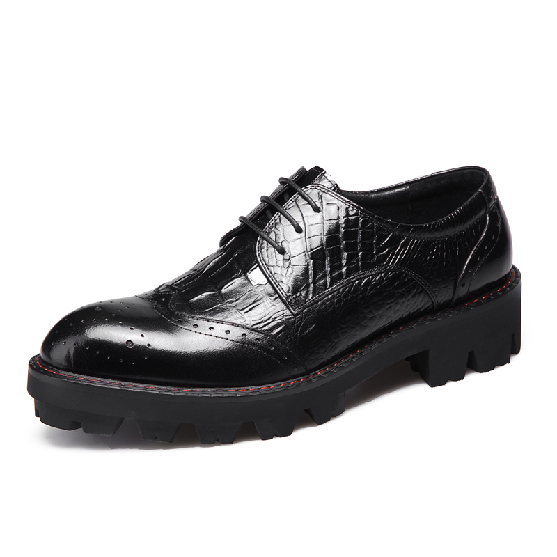Everyday mens casual carved mens shoes fashion stitching Oxford Shoes board shoes raised cow leather block style thick soles