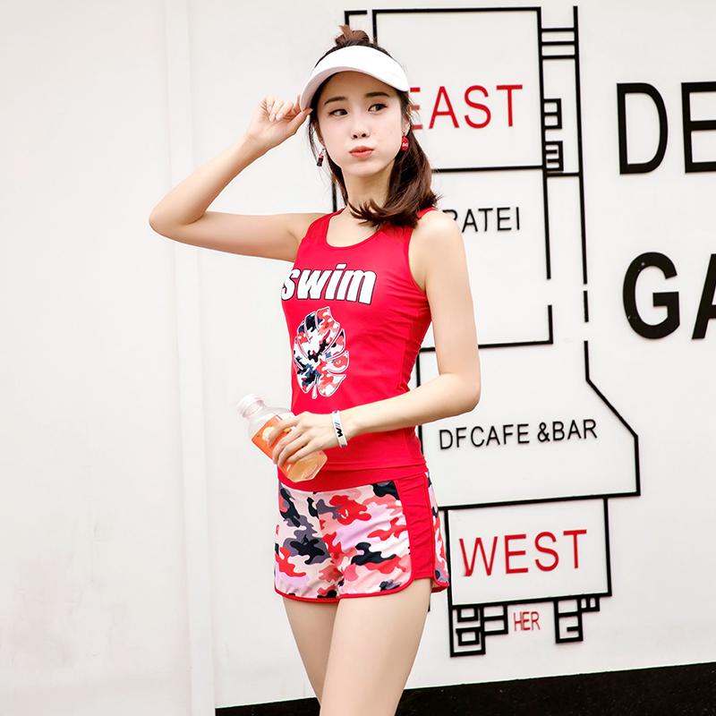 金宏泳衣女保守学生分体平角裤韩国少女遮肚显瘦温泉游泳衣两件套11-10新券
