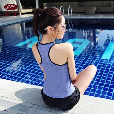 泳衣女两件套保守分体式学生韩国运动款平角裤大码遮肚显瘦游泳衣