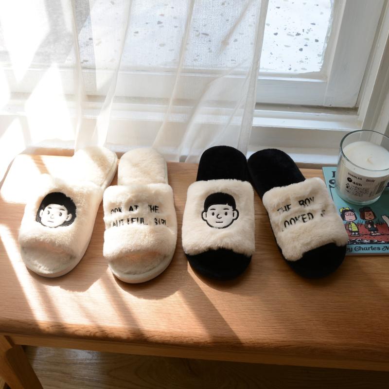 韩国棉拖鞋女可爱ins毛绒秋冬家用情侣室内保暖外穿网红毛毛拖鞋图片