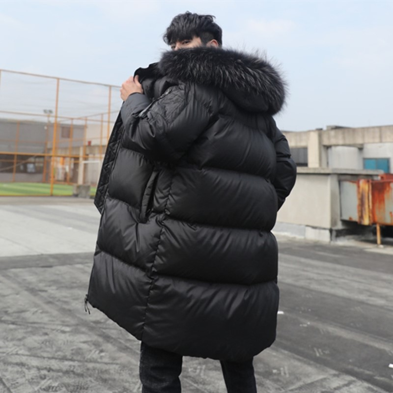 2020 new mens down jacket medium length popular large collar long version over the knee trend thickened Parka
