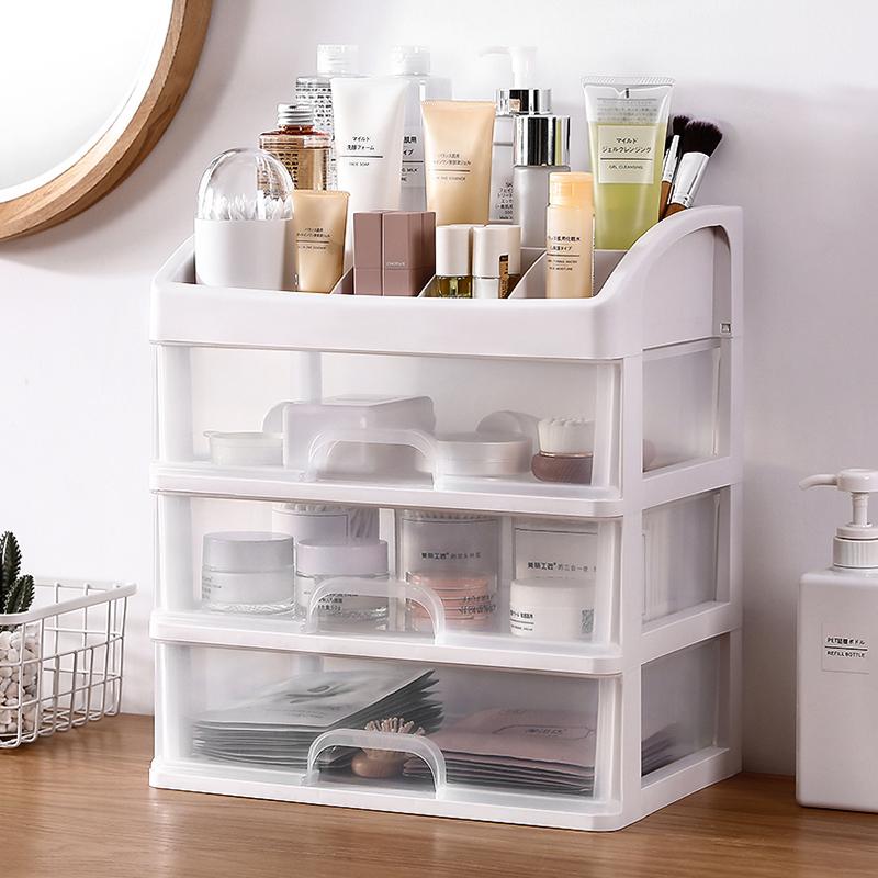网红特大号化妆品收纳盒透明抽屉式收纳梳妆台化妆盒护肤品置物架